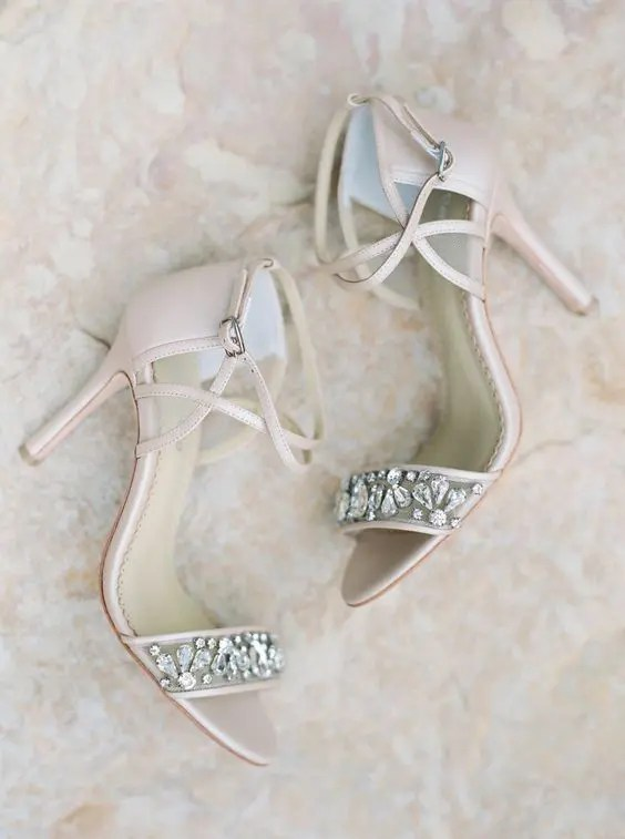 blush wedding shoes with straps and embellished straps for a spring or summer wedding