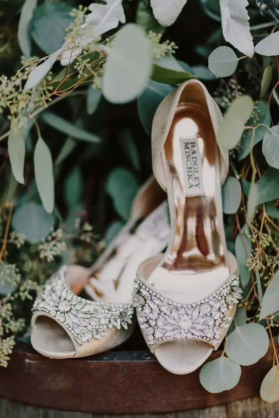 metallic peep toe wedding shoes with embellished tops for a vintage bridal look