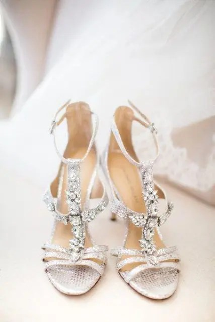 heavily embellished silver strappy shoes are a great idea to sparkle