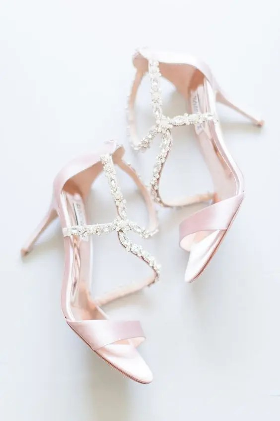pink strappy wedding shoes with beautiful embellishments for a delicate yet shiny look