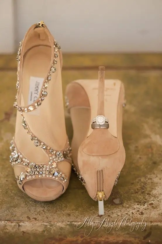 camel wedding booties with sheer parts and peep toes for a fashion-forward bride