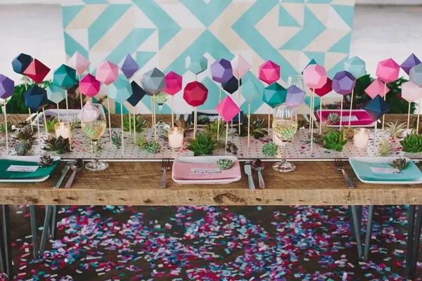 DIY 3D geometric wedding table runner (via ruffledblog.com)