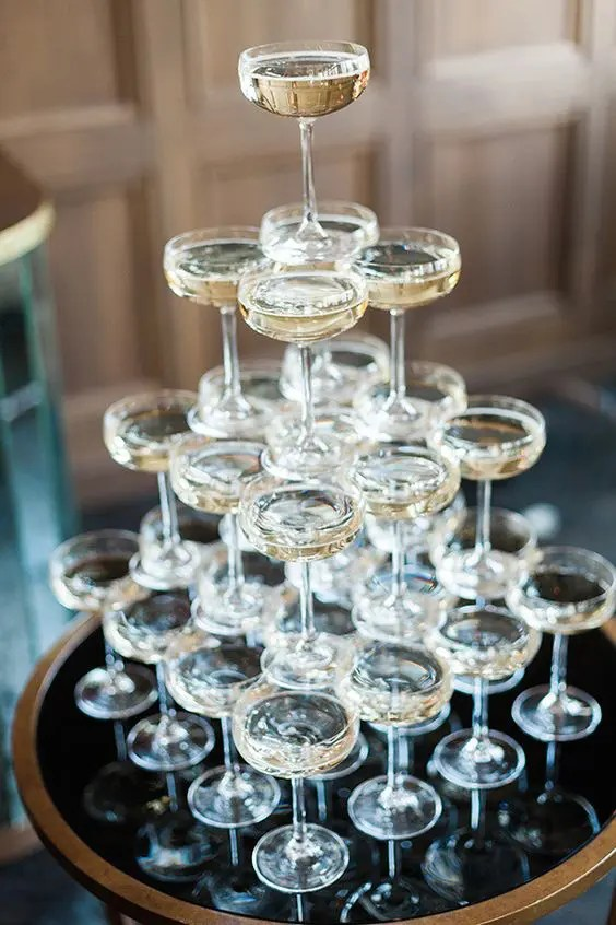 serve a champagne tower at a your cocktail hours as well, add some appetizers and voila