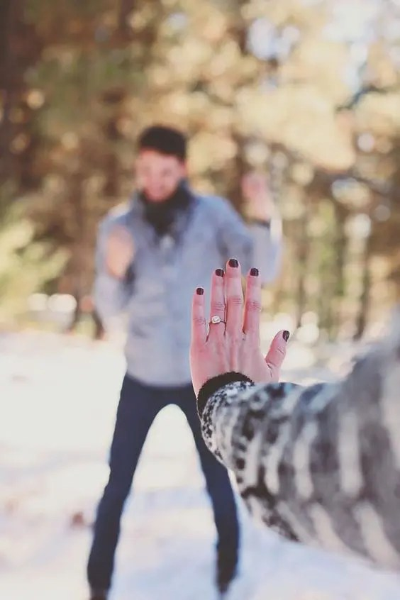 go for a walk and show off your ring and your groom-to-be at the same time