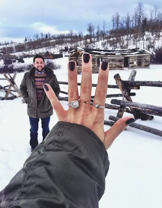 you and him, you are taking a pic with your ring, what can be more romantic