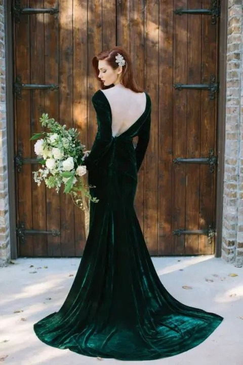 f77254a939b a long sleeve mermaid emerald velvet open back wedding dress with a train  for a sophisticated