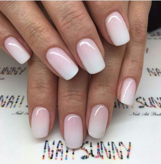 ombre pink and white nails for a frosty look of your nails, ombre is a hot trend