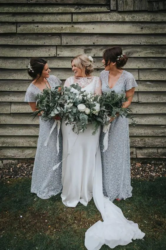 romantic grey lace fitting bridesmaid dresses with short sleeves and V-neckline for a frozen-like wedding