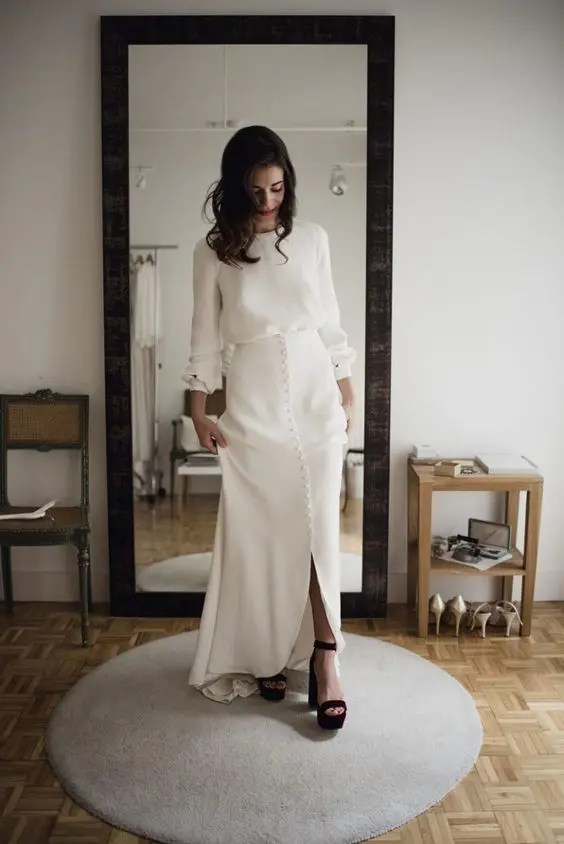 a casual wedding separate of a maxi skirt on buttons, a long sleeve top and burgundy platform shoes