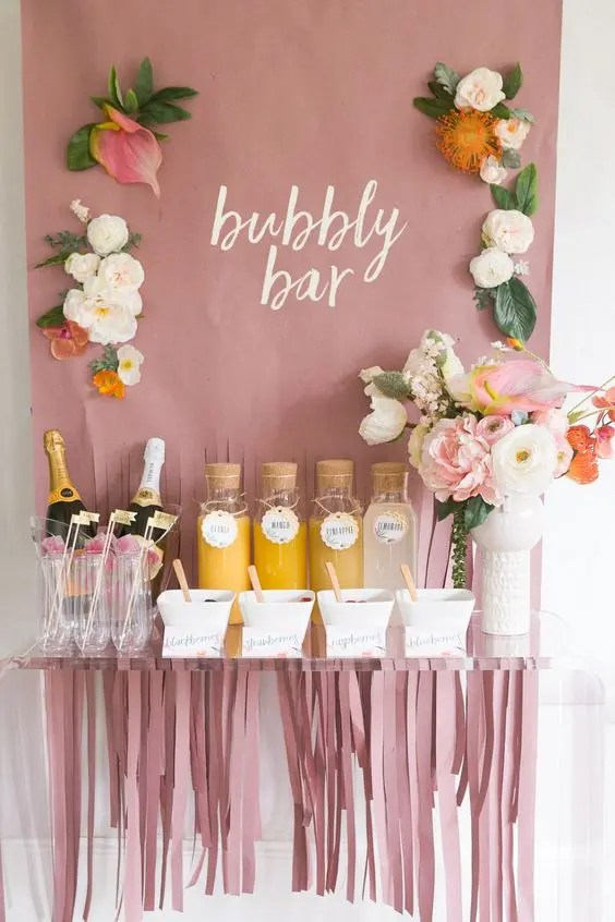 a bubbly bar is a cool and relaxed idea for a brunch wedding, no need for strong alcohol
