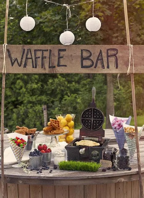 a waffle bar is another cool idea for a brunch wedding, many people love waffles