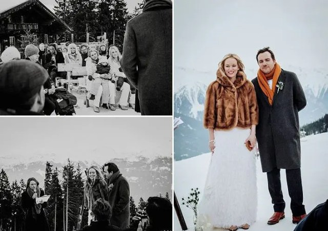 She covered up with a faux fur jacket and the groom was wearing a woolen coat plus a yellow scarf and cognac boots
