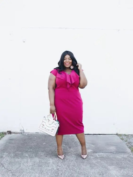 a hot pink fitting midi dress with a ruffled neckline, blush metallic shoes and an embroidered bag