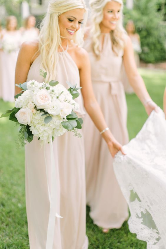 blush maxi halter neckline bridesmaid dresses are awesome for spring and summer weddings