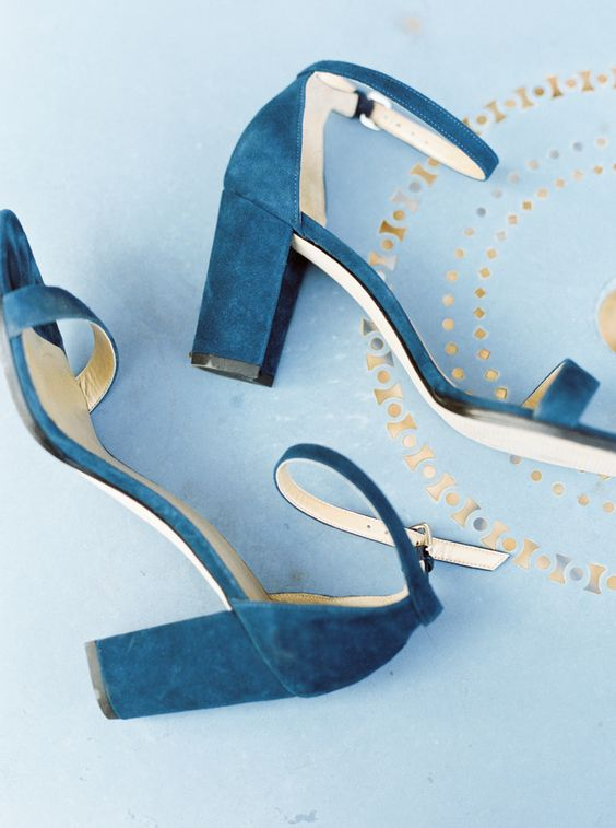 bold blue suede ankle strap sandals with block heels are a bold something blue option