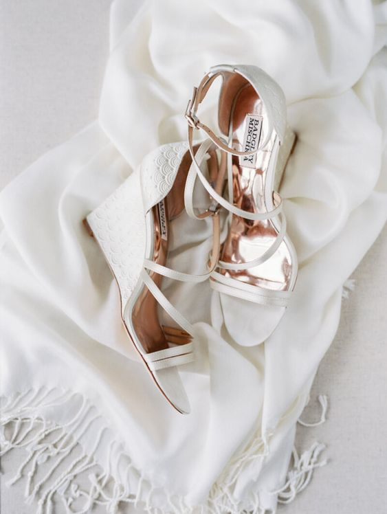 chic white printed wedding wedges with many thin straps by Badgley Mischka