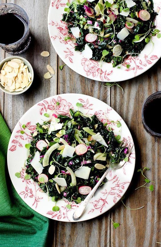 delicious spring salad of fresh asil, fennel, radishes, sliced almonds and tangerine vinaigrette