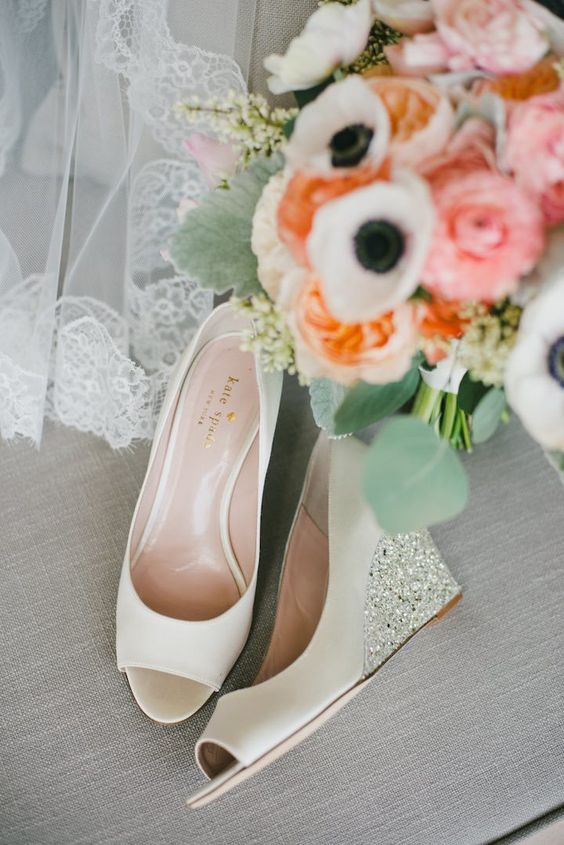 ivory wedding wedges with sparkling and shiny heels and peep toes for a touch of glam in your look