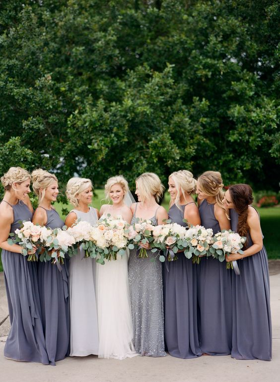 charcoal halter neckline maxi gowns and a grey embellished maxi dress with spaghetti straps for the maid of honor