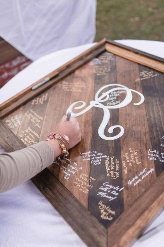 a rustic pallet wood frame to sign is a stylish idea and then you may use it as an artwork