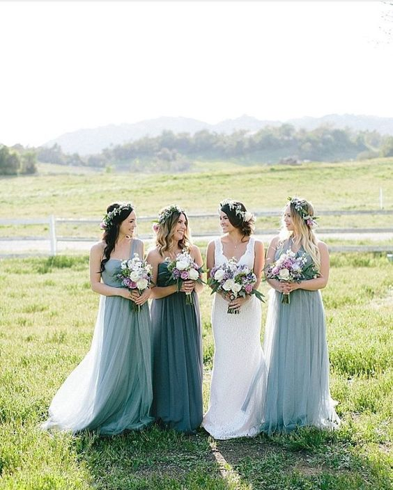 dove grey one shoulder maxi bridesmaid dresses and a slate grey matching gown for the maid of honor