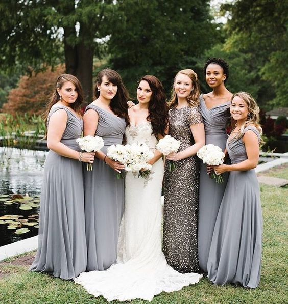 elegant grey maxi gowns with wide straps and draped bodices and a silver sequin maxi gown with short sleeves and a high neckline