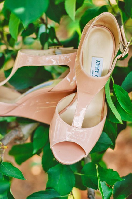 elegant lacquered pink wedding wedges with peep toes and ankle straps by Jimmy Choo