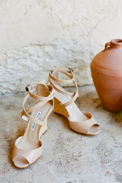 nude lacquered peep toe wedding wedges with straps on the ankles is a fresh take on classic nude shoes