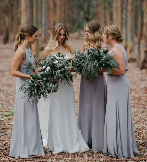 mismatching grey maxi dresses and a darker shade of grey for the maid of honor to highlight her look