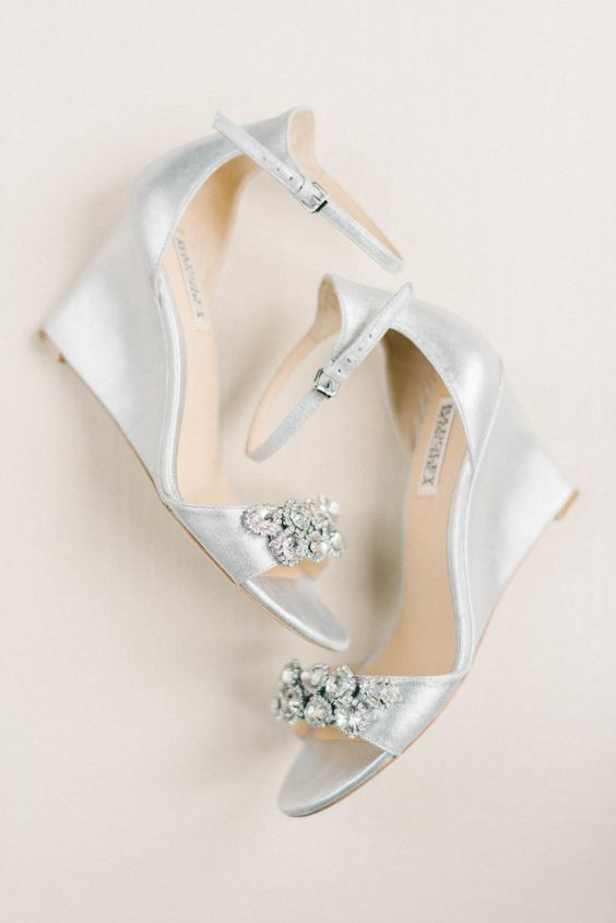 silver and embellished wedding wedges with thin ankle straps by Badgley Mischka