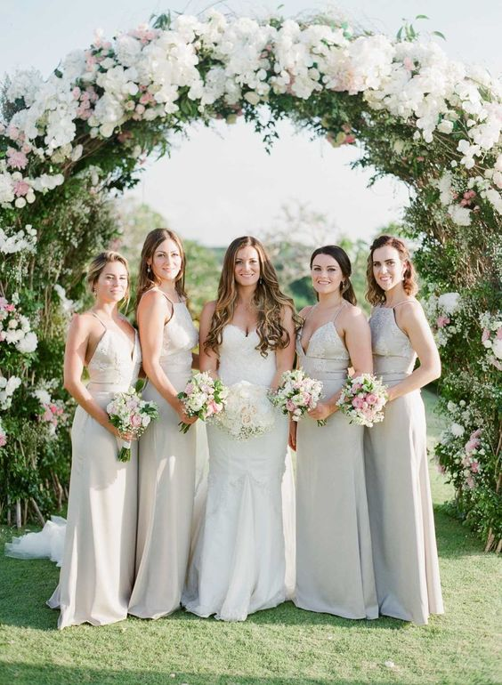 97157412691 neutral mismatching maxi bridesmaid dresses will help the gals feel more  comfortable on a hot day