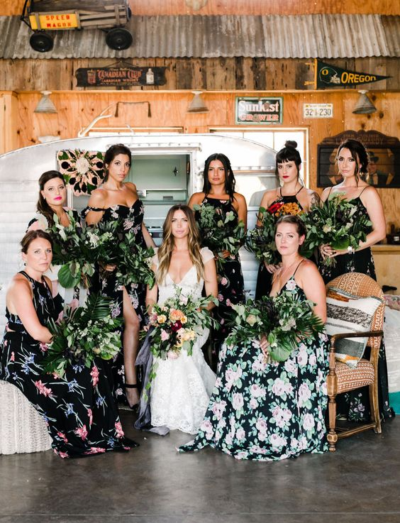 dark floral bridesmaid dresses with spaghetti straps or halter necklines for a boho jungalow look