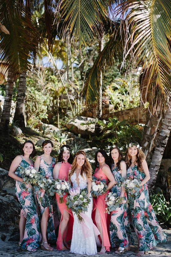 spaghetti strap mxi bridesmaid dresses with slits and bright torpical prints plus two coral dresses