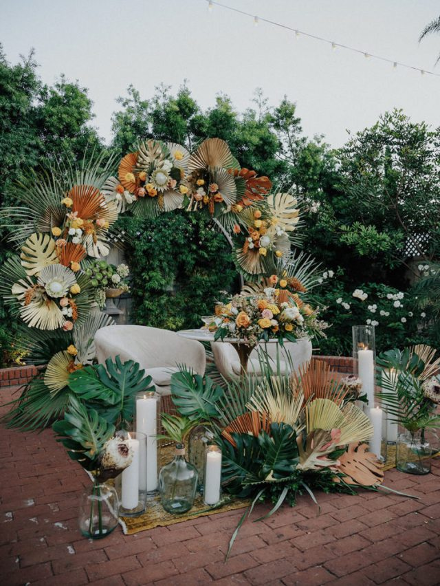 The wedding arch doubled as a backdrop for the wedding head table