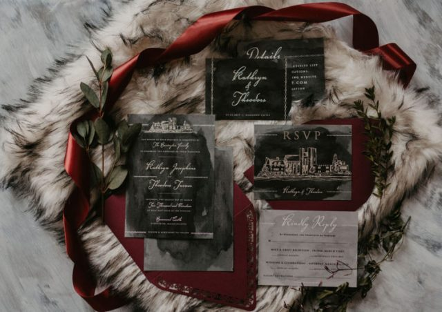 moody watercolor wedding stationery with calligraphy is a great idea for a GOTH wedding