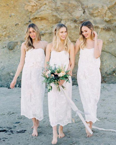 white lace midi loose separates with spaghetti straps for a trendy white bridal party
