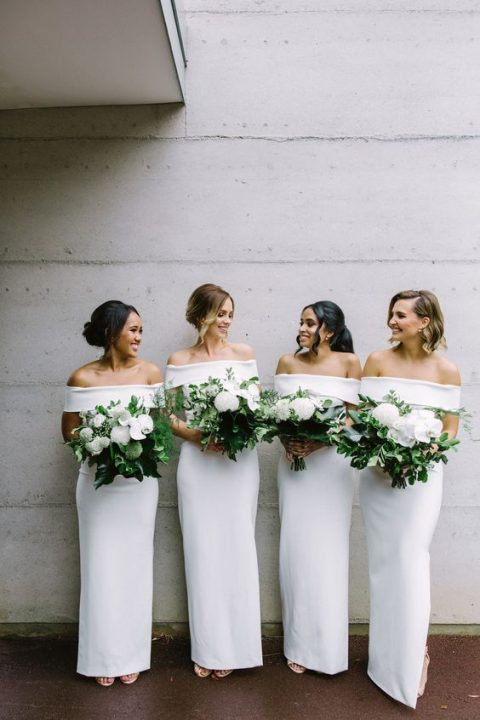 chic white off the shoulder maxi bridesmaid dresses are ultimate elegance for a tropical wedding