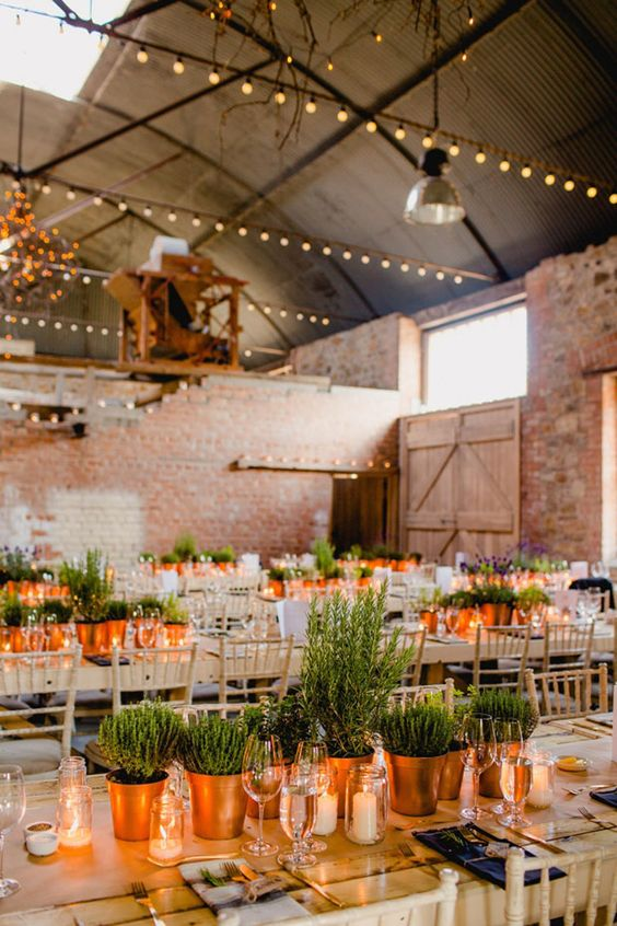 potted greenery and candles make up cool and chic modern wedding centerpieces with sustainability