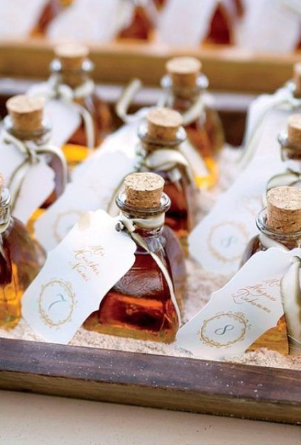 your favorite alcohol with tags is a cool idea for a wedding, if it's not with kids