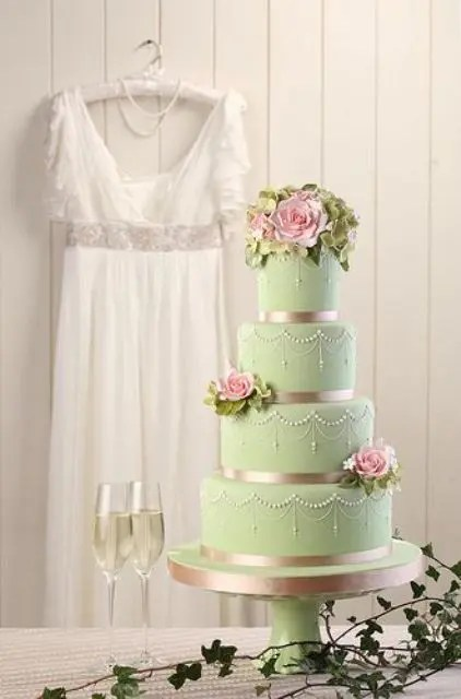 Sweet Pink And Lime Green Hand Painted Love Birds Wedding Cake Ideas Fpr Spring