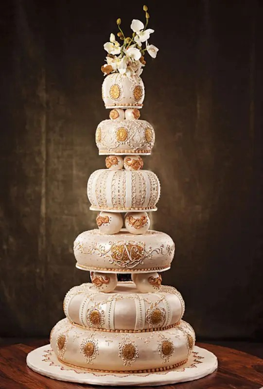 Elegant Ivory Fondant Wedding Cake With Romantic White Flower Lace Design And Edible Pearls Jpg