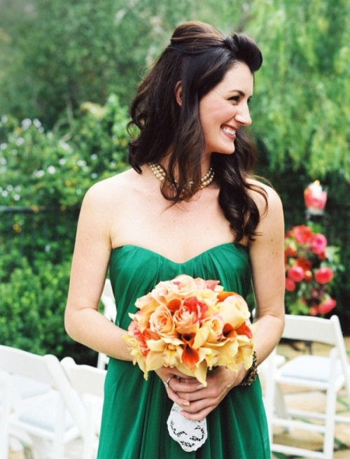 a strapless draped bridesmaid dress for a summer or fall wedding