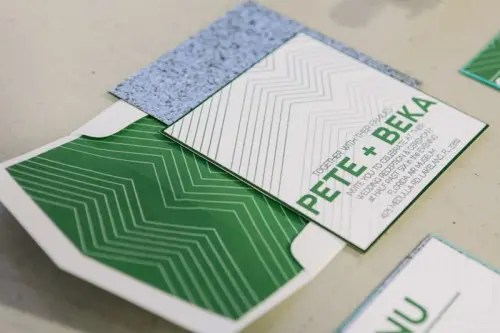 an emerald and white wedding stationery suite for a modern wedding
