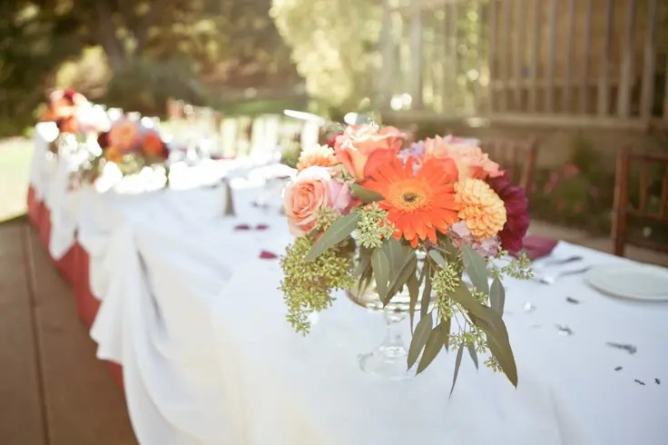 Picture Of A Bright Fall Floral Wedding Centerpiece With