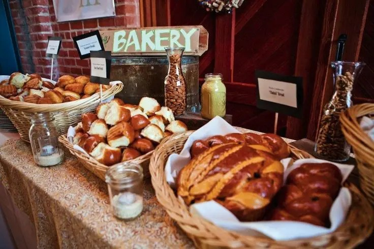 Picture Of A Bakery Bar With Lots Of Buns, Pastries And