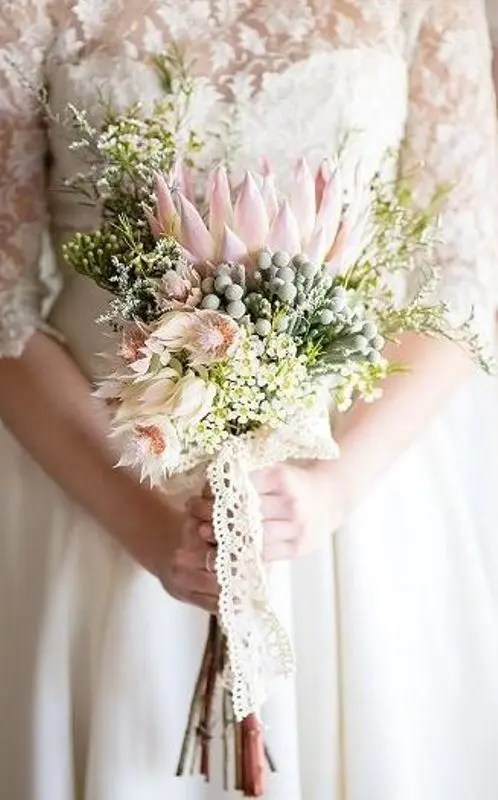 Picture Of Fresh And Whimsy Pincushion Protea Wedding Bouquets