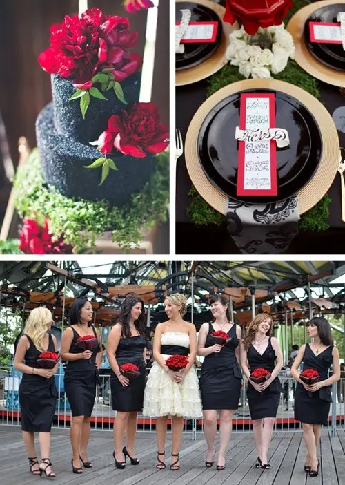 black bridesmaid dresses and shoes plus red bouquets, a black wedding cake with red flowers on top