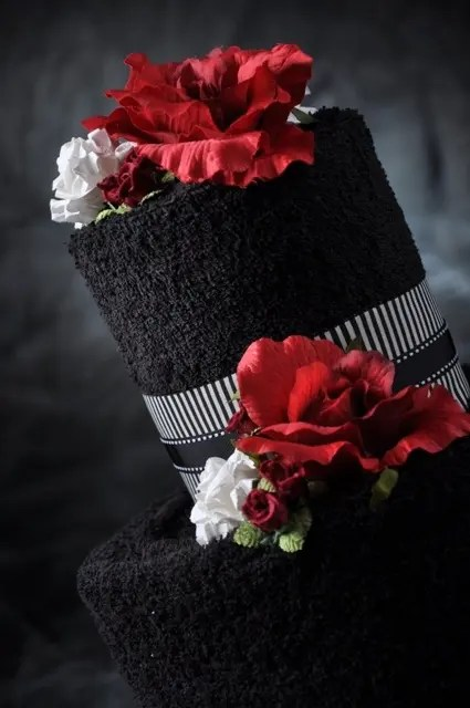 Black And Red White Deep Wedding Cake