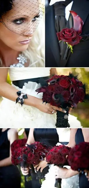 dark bridesmaid and wedding bouquets in deep red and black