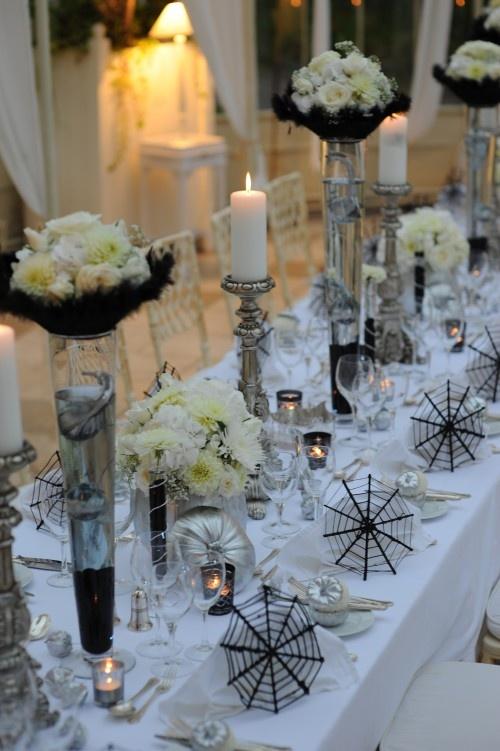 Elegant Black And White Wedding Table Settings